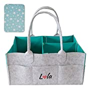 Baby Diaper Caddy Organizer with Changing Pad – Nursery Tote Bag for All Essentials | Large and Portable for Car Travel | Baby Shower Gift Basket for Dresser | New Born Registry Must Have