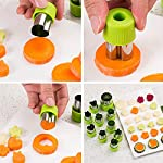 TIMGOU 12 Pcs Vegetable Fruit Cutter Shapes Set with Melon Baller Scoop and Cleaning Brush, Fruit and Mini Cookie Stamps Mold for Kids Crafts Baking Decorating Food-Green 13 12 Different Shape: There are 12 pcs different shape cutters in the package, contains shape of fish, rabbit, flower, duckling, star, strawberry, mushroom and so on. Come with melon baller and cleaning brush: The stainless steel fruit scoop helps to make ball shape fruit to decorate your made dish, small brush to clean the mold in hard reaching corner. Simple and extensive use: Just press the twist gently, you can get a pattern you want. Widely used for sugar cake, DIY biscuits, chocolate, mini pie, cookies, make fruit and vegetables into multiple shapes for Salad or fruit tray, suit for kids having fun in DIY.
