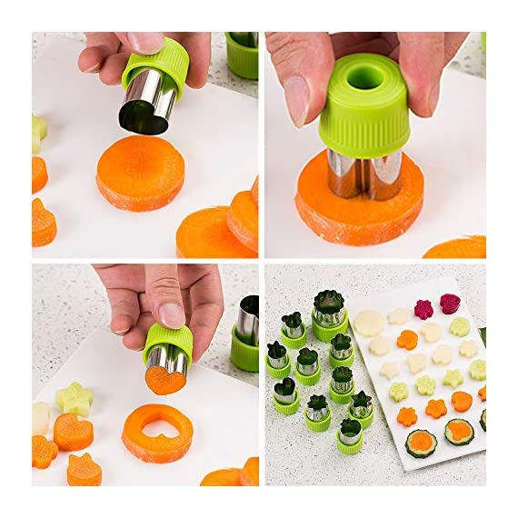 TIMGOU 12 Pcs Vegetable Fruit Cutter Shapes Set with Melon Baller Scoop and Cleaning Brush, Fruit and Mini Cookie Stamps Mold for Kids Crafts Baking Decorating Food-Green 4 12 Different Shape: There are 12 pcs different shape cutters in the package, contains shape of fish, rabbit, flower, duckling, star, strawberry, mushroom and so on. Come with melon baller and cleaning brush: The stainless steel fruit scoop helps to make ball shape fruit to decorate your made dish, small brush to clean the mold in hard reaching corner. Simple and extensive use: Just press the twist gently, you can get a pattern you want. Widely used for sugar cake, DIY biscuits, chocolate, mini pie, cookies, make fruit and vegetables into multiple shapes for Salad or fruit tray, suit for kids having fun in DIY.