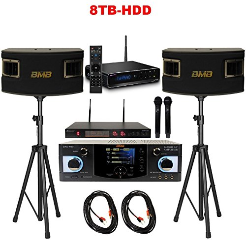 Gia Hân SmartKaraoke Player Bundle with BMB DAS-400 Amplifier, CSV-450 Speakers, Acesonic UHF-A6 Dual Wireless Microphone System, and Speaker Stand (Pair)