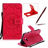 Wallet Case for Samsung Galaxy A5 2017 A520,Strap Flip Case for Samsung Galaxy A5 2017 A520,Herzzer Retro Elegant [Red Mandala Flower Pattern] Stand Function Magnetic Smart Leather Case with Soft Inner for Samsung Galaxy A5 2017 A520 + 1 x Free Red Cellphone Kickstand + 1 x Free Claret-Red Stylus Pen