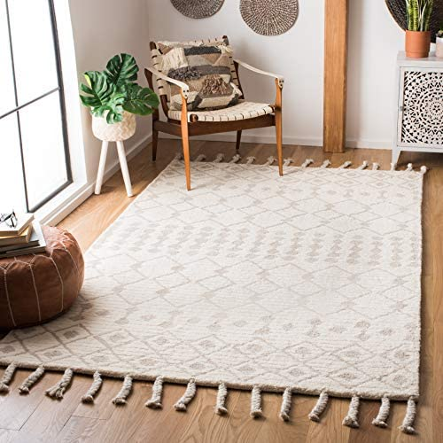 Safavieh CSB203B-5 Casablanca Collection CSB203B Hand Knotted Ivory and Beige Premium Wool Area 5' x 8' Rug