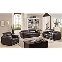 AC Pacific 3 Piece Calvin Collection Modern Style Leather Living Room Complete Living Room Collection, Dark Brown