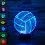 Volleyball 3D Lamp Optical Illusion Night Light, Gawell 7 Color Changing Touch Table Desk Lamps with Acrylic Flat & ABS Base & USB Cable for Awesome Gift