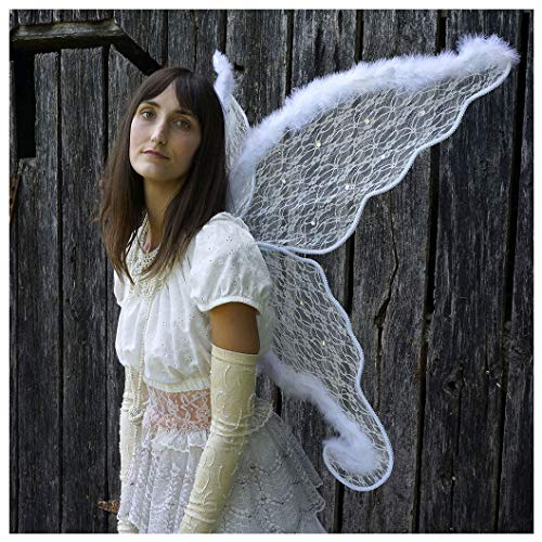 Zucker Feather Feather White Angel Adult Costume-Large Fairy or Butterfly Lace & Feather Wings, Sexy Halloween or Cosplay Accessories, for Photo Props or Party, 40 x 30 inches (101.6 x 76.2 cm), -