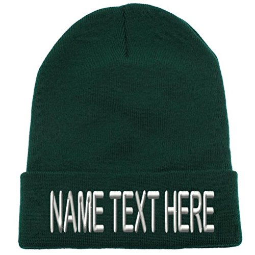 Knit Hat Green Cuffed (Caprobot ID Custom Embroidery Personalized Name Text Ski Toboggan Knit Cap Cuffed Beanie Hat - Forest Green …)