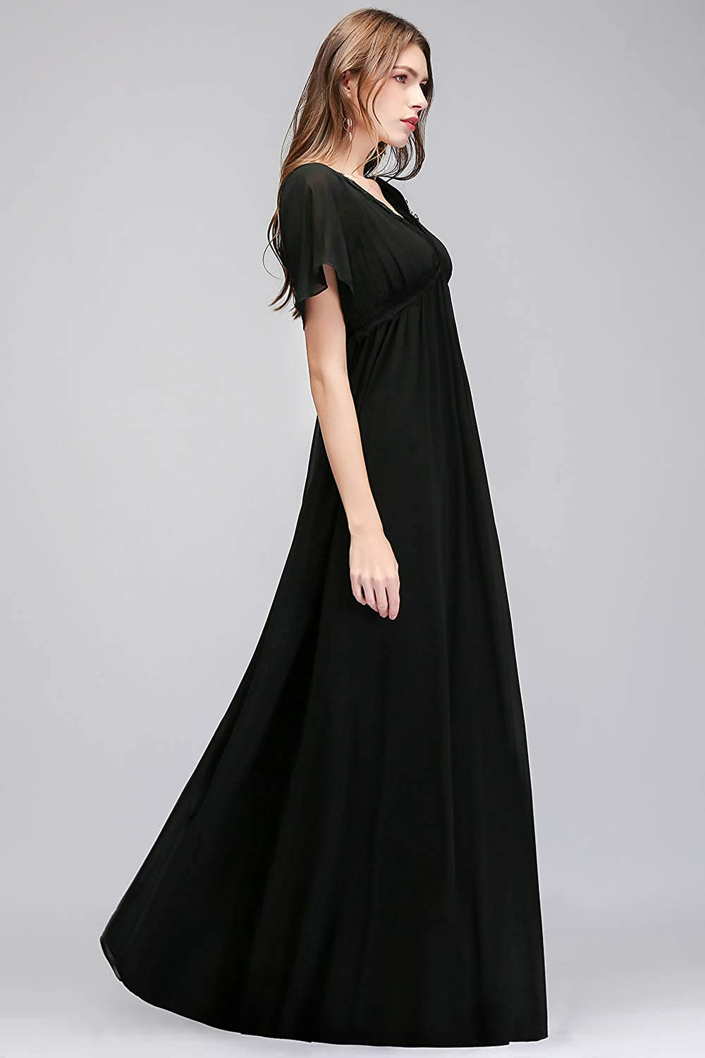 MisShow Double V Neck Flutter Sleeve Empire Chiffon Prom Evening ...