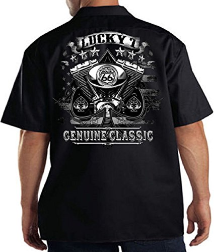 Lucky 7 Genuine Skull & Spades Mechanics Work Shirt Biker Motorcycle, Black, ()