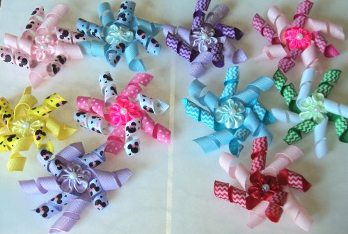 Pack of 10 Dog Hair kroker Bows with French Clip- Spring/Easter/Summer Design-Two tone- Mickey or Chevron Collection - Cute, Lovely, and affordable!!!