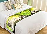 PicaqiuXzzz Custom Animal Bed Runner, White Tiger with Green Tree Landscape Nature Scenery Bed Runners And Scarves Bed Decoration 20x95 inch