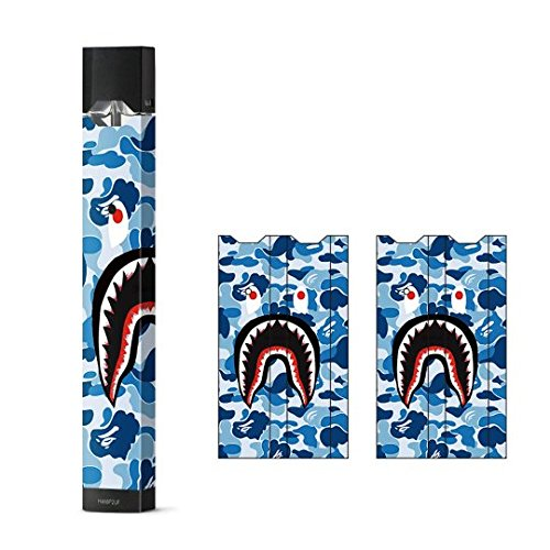 JaySkins Bathing Ape Blue Camo Face Mouth Juul Skin Decal Sticker Wrap Protective Case for JUUL JB Products