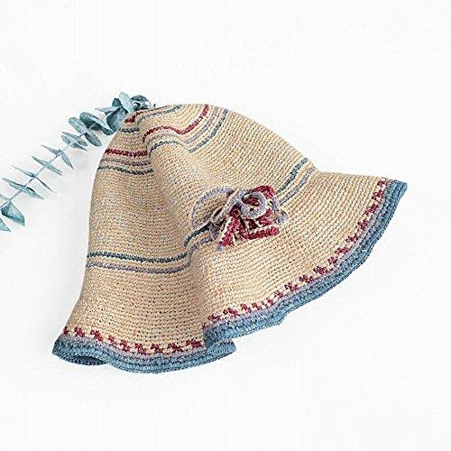 Playa Zpd Plegable Sombreros Tamaño a Verano Visera Vacaciones Femenino un Marea Paja Sol Sombrero De grxTrvEw
