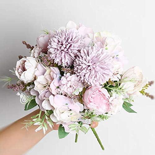 Light Purple NAWEIDA Artificial Flowers,Silk Hydrangea Bouquet Fake Peony D/écor Plastic Carnations Realistic Flower Arrangements Wedding Decoration Table Centerpieces 2 Packs