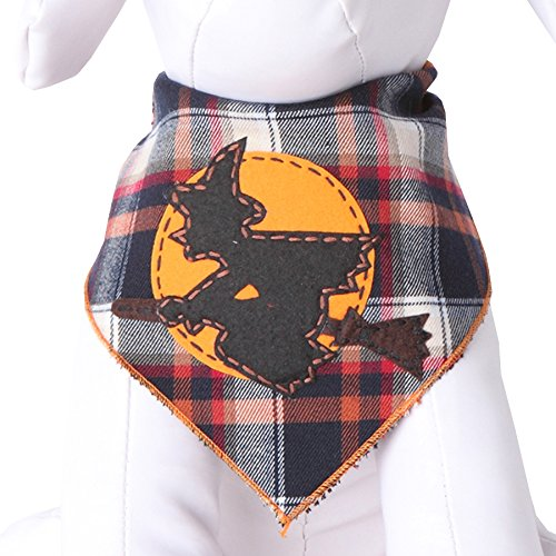 Tail Trends Halloween Dog Bandanas with Flying Witch Designer Appliques 100% Cotton -