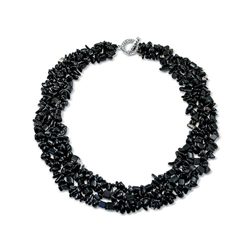 - Bling Jewelry Black Onyx Chip Stone Wide Chunky Cluster Multi Strand Bib Collar Statement Necklace for Women