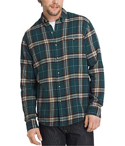 G.H. Bass & Co.. Men's Long Sleeve Fireside Plaid Flannel Shirt, Deep Teal, 2X-Large