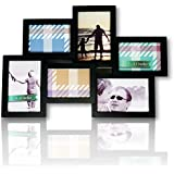 Stylish Black 6 Opening 3- 4x6 and 3-5x3.5 Wall Hanging Collage Picture Frame, Artistic 3D Puzzle Style, Perfect for Family, Friends, or Travel Photos