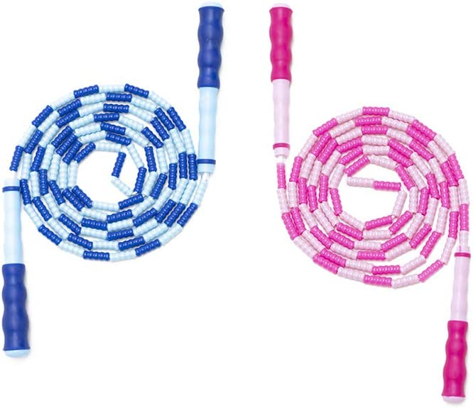 Workout -9.8 ft 2 Pack Pink+Blue Tangle-Free Segmented Adjustable for Women Men Wekin Soft Beaded Skipping Rope Kids Girls Boys Jump Rope Kids kids exercise equipment For Keeping FIt