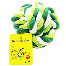 J.Y Pet Set of 6 Funny Molar Cotton Rope Ball Aggressive Chew and Tug Dog Toys,Green,(for all Types of Dogs)