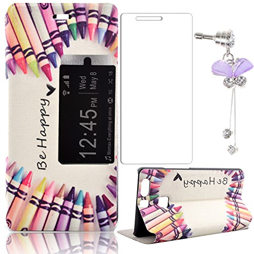 Huawei P9 Case,Sunroyal Premium Anti-shock PU Leather Slider Window Flip Stand Cover for Huawei Ascend P9 Colorful Crayon+Purple Crystal Butterfly Dustproof Pendant+Glass Screen Protector - Purple Sliders Pendant