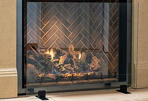 Amazon Com Manhattan Modern Free Standing Glass Fireplace Screen Clear Black Feet Large 46 X 32 Decorative Screen Made In Usa Home Kitchen