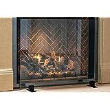 """Manhattan Modern Free Standing Glass Fireplace Screen (Clear, Black Feet) Medium (39"""" x 29"""")"""