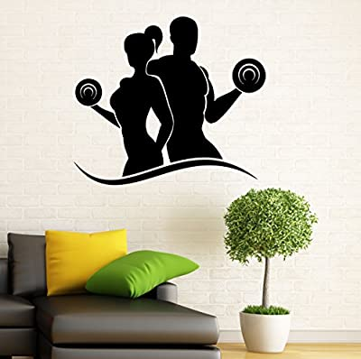 Fitness Wall Decal Gym Wall Vinyl Sticker Sport Healthy Living Interior Home Art Wall Murals Bedroom Home Decor (2f01s)