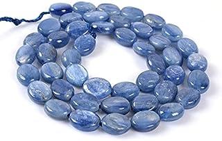 0875 9mm Blue Kyanite flat oval loose gemstone beads 16' SHRI NATH GEMS & JEWELLERY