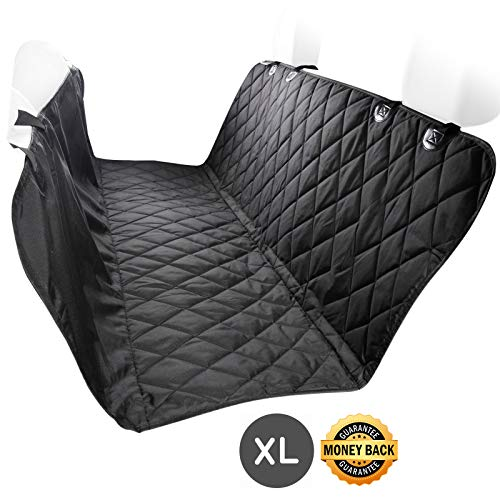 EUPets Deluxe Extra Large Dog Car Seat Cover for Cars Trucks SUVs, Thick Durable, Hammock Convertible, Waterproof, Non-Slip Backing, Black