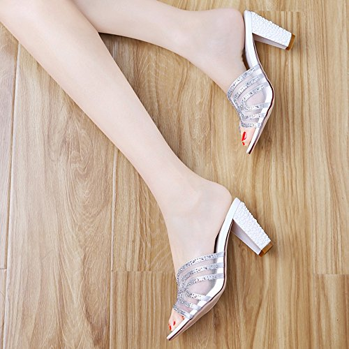 Sandals Flip-Flops Women's Shoes Customized Materials Summer Comfort Slippers Walking Shoes Chunky Heel Open Toe Rhinestone For Casual Party Stylish/comfortable Silver cd3YVw