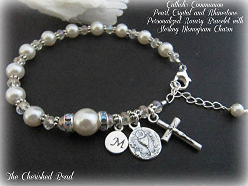 eef51f458 Image Unavailable. Image not available for. Color: Catholic Communion Personalized  Swarovski White Pearl, Crystal and Rhinestone Rosary Bracelet ...