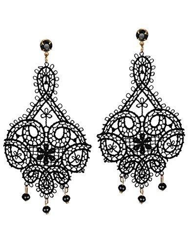 Mints Black Lace Earrings Gothic Jewelry for Women Tassel Beads Chandelier Motif Cut Out Drop Dangle (Motif Dangle)