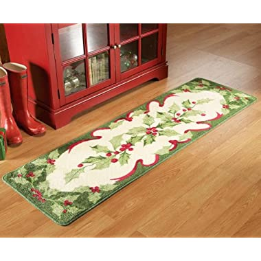 Non-Skid Holiday Holly Floor Runner Area Rug, 18 inches x 6 inches