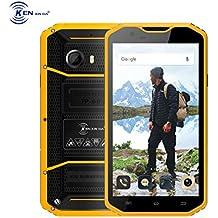 Kenxinda W8 Rugged Unlocked Smartphone 5.5 Inch Screen Waterproof Shockproof Dustproof 16GB Octa Core MTK6753 8MP Camera GSM Smartphone Military Grade Cellphone (Yellow)