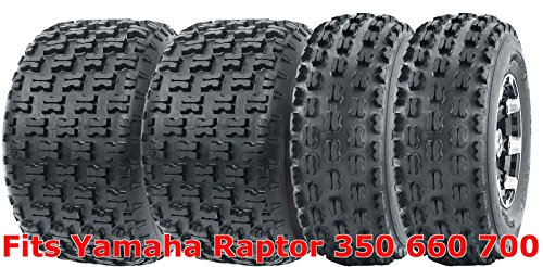 Full Set WANDA Sport ATV Tires 21x7-10 & 20x10-9 Yamaha Raptor 350 660 700 (Rims Yamaha 350 Raptor)