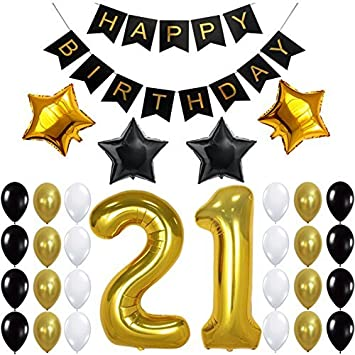 image relating to Printable Happy Birthday Banner titled 21st Birthday Social gathering Decorations Package, Satisfied Birthday Banner, 21st Gold Quantity Balloons,Gold and Black, Quantity 21, Excellent 21 Many years Previous Get together