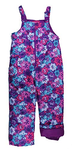 London Fog Girls' Toddler Classic Bib Pant with Zipper, Flowers, 3T