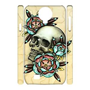Personalize Skull and flowers Cell Phone case Samsung Galaxy S4 I9500,Cover for Samsung Galaxy S4 I9500,Custom Skeleton Cover Case for Samsung Galaxy S4 I9500 moye-9771662 at monye.