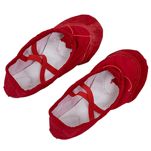 SODIAL(R)Maedchen Ballett Tanz Schuhe fuer Kinder UK Groesse 11 - Rot
