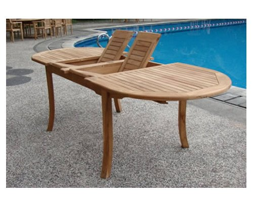 Grade-A Teak Wood Extra Large double extension 117″ Oval Dining Table #WHDT118O