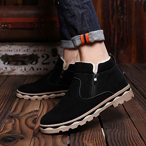 Amazon.com: Tebapi Mens Backpacking Boots Shoes Men Ankle Snow Boots Slip on Winter Warming Fur Ski Antiskid Bottom Zapatillas Hombre Botas Footwear ...
