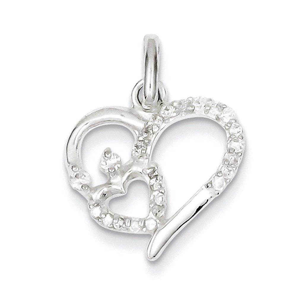 Lex /& Lu Sterling Silver CZ Double Heart Pendant LAL24150