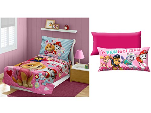 [Paw Patrol Skye Best Pups Ever 4-Piece Toddler Bedding Set with Paw Patrol Girl 'Alpha Pups' 18