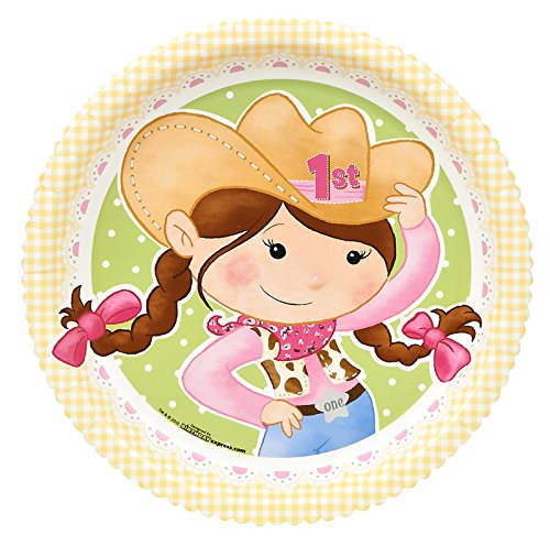 (Pink Cowgirl Party Supplies - 1st Birthday Dinner Plates)