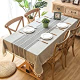 Wondder Cotton Linen Table Cloth Tassel Lace for Table Cover Tablecloth Party Banquet Dining Table Cover (140x220cm(55x86.6inch), Grey)