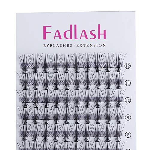 Individual Eyelashes 10Roots 0.07mm C Curl 10mm Cluster Lashes Medium Length Soft Black Natural Long Mink Grafting Flare Eyelashes Extension Handmade Knot Free