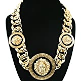 Basketball Wives Love and Hip Hop Atlanta Rihanna 18'L Celebrity Inspired Lion Head Chain Link Necklace