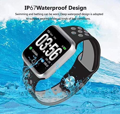 Fitness Tracker with Heart Rate Monitor,Bayoung Waterproof Smartwatch with Sleep Monitor Color Screen Activity Tracker Smart Fitness Band with Step Counter Calorie Counter, Pedometer (Black)
