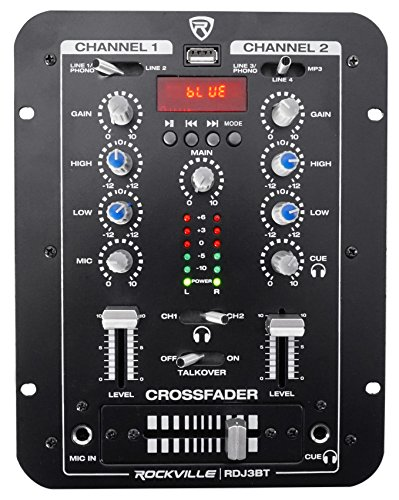 Scratch Mixer - Rockville RDJ3BT 2 Channel DJ Mixer with USB, Bluetooth, Talkover, 4 Line Inputs