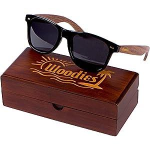 WOODIES Walnut Wood Wayfarer Sunglasses with Polarized Lens in Wood Display Box for Men or Women